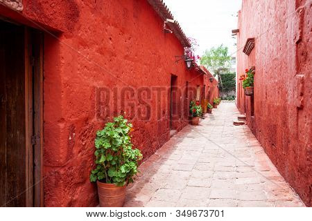 Internal Streets In The Monastery Of Santa Catalina, Arequipa, Peru, Old Terracotta Walls, Entrance
