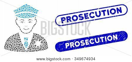 Mosaic Sheriff And Grunge Stamp Watermarks With Prosecution Phrase. Mosaic Vector Sheriff Is Created