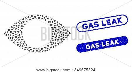 Mosaic Blind Eye And Rubber Stamp Watermarks With Gas Leak Phrase. Mosaic Vector Blind Eye Is Create