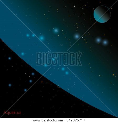 Vector Illustration On The Theme Of Cosmos, Constellation Stars Planets Matter Universes. Constellat