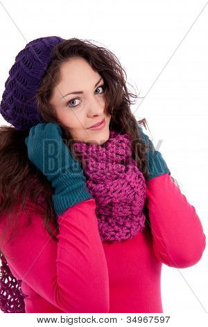 Beautiful Young Smiling Girl With Hat And Scarf In Winter