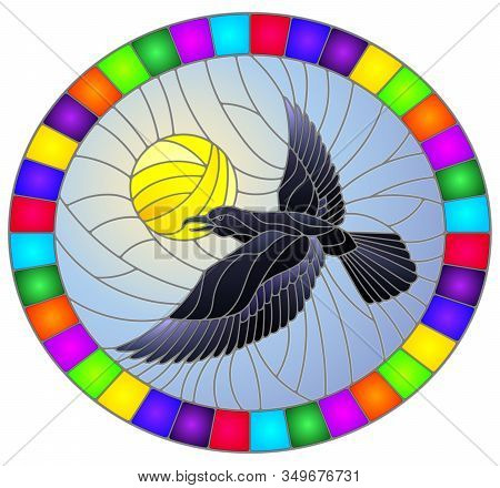 Illustration In Stained Glass Style Raven On The Background Of Sky And Sun, Oval Image In Bright Fra