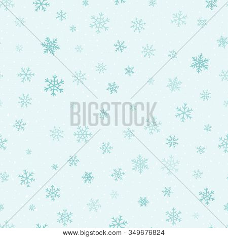 Vector Snow Background. Simple Christmas And New Year Seamless Pattern With Different Small Snowflak