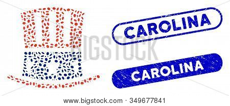 Mosaic Uncle Sam Hat And Rubber Stamp Seals With Carolina Phrase. Mosaic Vector Uncle Sam Hat Is Com