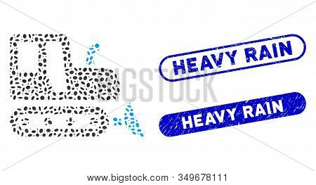 Mosaic Bulldozer And Distressed Stamp Seals With Heavy Rain Caption. Mosaic Vector Bulldozer Is Form