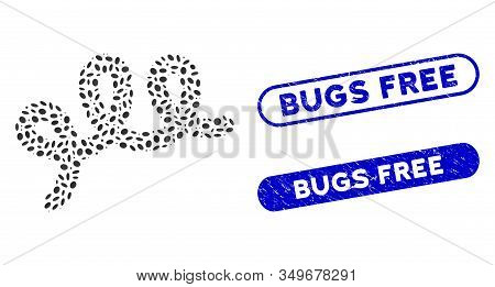 Mosaic Spiral Bacillus And Grunge Stamp Seals With Bugs Free Text. Mosaic Vector Spiral Bacillus Is