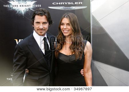 """NEW YORK-JULY 16: Actor Christian Bale and Sibi Blazic attend the world premiere of """"The Dark Knight Rises"""" at AMC Lincoln Square Theater on July 16, 2012 in New York City."""