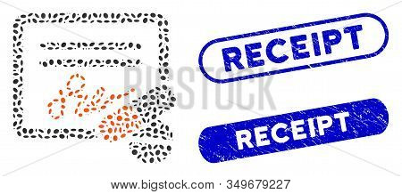 Mosaic Receipt And Rubber Stamp Seals With Receipt Caption. Mosaic Vector Receipt Is Created With Ra