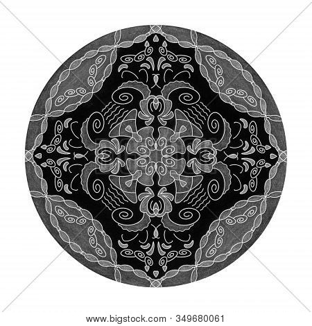 Colored Pencil Effects. Illustration Mandala Black, White And Grey. Heart, Spiral And Abstract. Deco