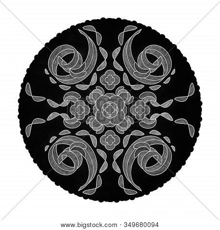 Colored Pencil Effects. Illustration Mandala Black, White And Grey. Spiral Abstract. Decorative Elem