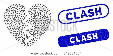 Mosaic Broken Heart And Corroded Stamp Seals With Clash Caption. Mosaic Vector Broken Heart Is Compo
