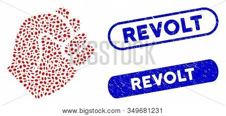 Mosaic Fist And Rubber Stamp Seals With Revolt Caption. Mosaic Vector Fist Is Composed With Randomiz