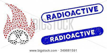 Mosaic Atomic Fire And Rubber Stamp Seals With Radioactive Phrase. Mosaic Vector Atomic Fire Is Desi