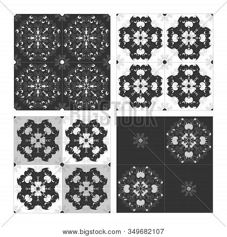Pattern Spirals Black White And Grey. Seamless. Decorative Element. This Pattern Can Be Used For Wal