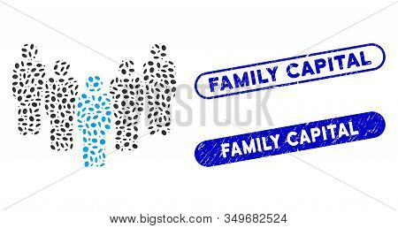 Mosaic Department Staff And Grunge Stamp Watermarks With Family Capital Text. Mosaic Vector Departme