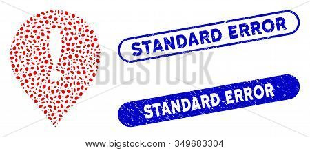 Mosaic Exclamation Marker And Distressed Stamp Seals With Standard Error Caption. Mosaic Vector Excl