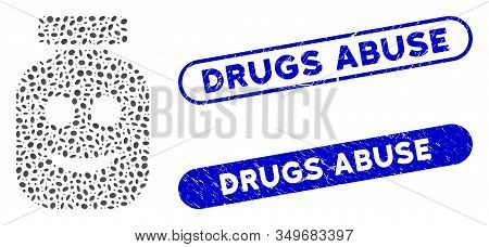 Collage Happy Vial And Distressed Stamp Seals With Drugs Abuse Phrase. Mosaic Vector Happy Vial Is C
