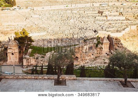 Tomb Of Zechariah And Tomb Of Absalom In The Foreground And Cemetery On The Mount Of Olives In The B