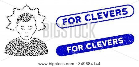 Mosaic Inventor And Corroded Stamp Watermarks With For Clevers Phrase. Mosaic Vector Inventor Is Cre