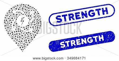 Mosaic Electric Motor Marker And Corroded Stamp Watermarks With Strength Phrase. Mosaic Vector Elect