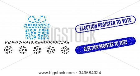 Collage Baggage Transportation And Grunge Stamp Seals With Election Register To Vote Caption. Mosaic