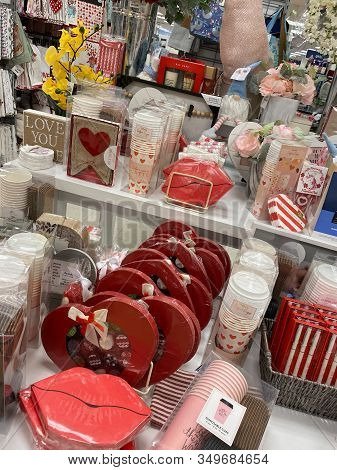 Iselin, New Jersey / United States - January 9, 2020: A Variety Of Valentines Day Decorations And Ot