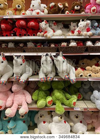 Woodbridge, New Jersey / United States - January 9, 2020: A Variety Of Valentines Day Stuffed Animal