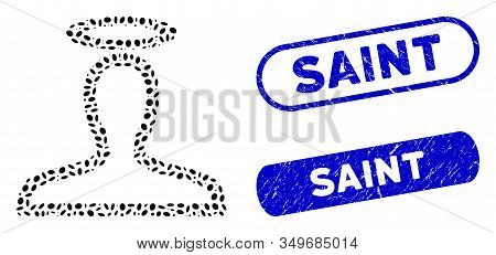 Mosaic Saint Person And Corroded Stamp Seals With Saint Phrase. Mosaic Vector Saint Person Is Create