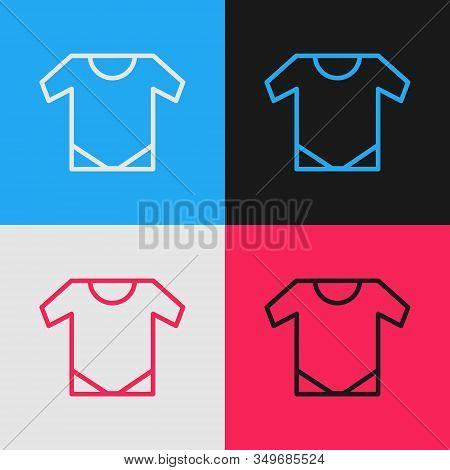 Color Line Baby Onesie Icon Isolated On Color Background. Baby Clothes Symbol. Kid Wear Sign. Vintag