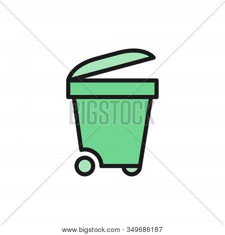 Trash Bin, Trashcan, Waste, Garbage Flat Color Line Icon.