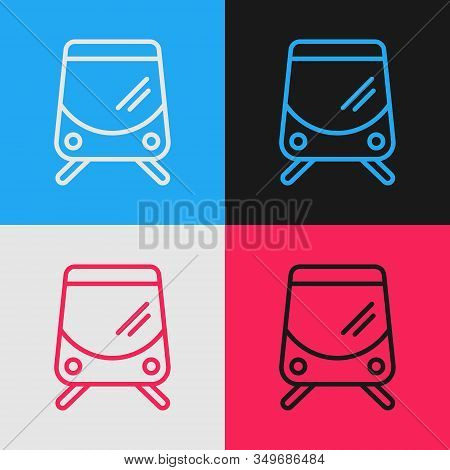 Color Line Tram And Railway Icon Isolated On Color Background. Public Transportation Symbol. Vintage