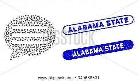 Mosaic Message Cloud And Rubber Stamp Seals With Alabama State Phrase. Mosaic Vector Message Cloud I