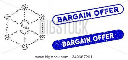 Mosaic Bank Network And Grunge Stamp Seals With Bargain Offer Phrase. Mosaic Vector Bank Network Is