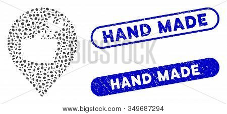 Mosaic Service Hand Marker And Rubber Stamp Watermarks With Hand Made Text. Mosaic Vector Service Ha