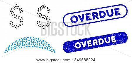 Mosaic Bankrupt Sad Emotion And Corroded Stamp Seals With Overdue Caption. Mosaic Vector Bankrupt Sa