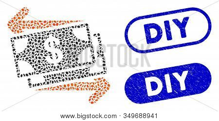 Mosaic Money Exchange And Distressed Stamp Seals With Diy Text. Mosaic Vector Money Exchange Is Crea