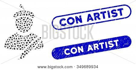 Mosaic Painter And Corroded Stamp Seals With Con Artist Text. Mosaic Vector Painter Is Formed With R