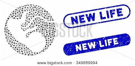 Mosaic Embryo And Distressed Stamp Seals With New Life Phrase. Mosaic Vector Embryo Is Formed With R