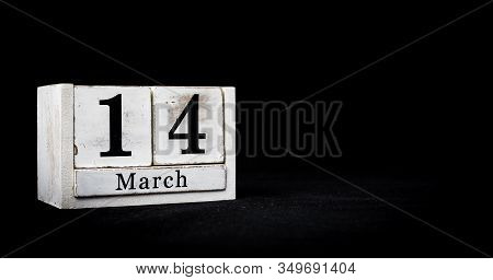 March 14th, Fourteenth Of March, Day 14 Of Month March - White Calendar Blocks On Black Textured Bac