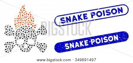Mosaic Hellfire And Distressed Stamp Seals With Snake Poison Phrase. Mosaic Vector Hellfire Is Creat