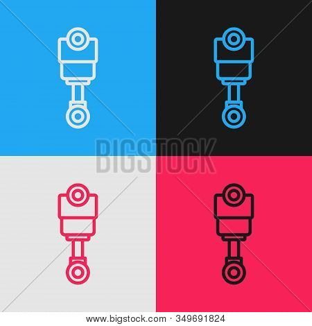 Color Line Engine Piston Icon Isolated On Color Background. Car Engine Piston Sign. Vintage Style Dr