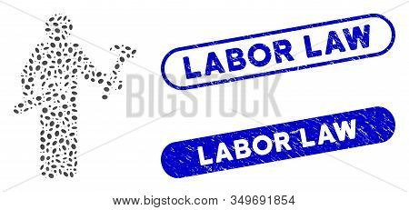 Mosaic Serviceman And Distressed Stamp Seals With Labor Law Caption. Mosaic Vector Serviceman Is Cre