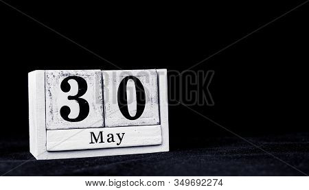 May 30th, Thirtieth Of May, Day 30 Of Month May - Vintage Wooden White Calendar Blocks On Black Back