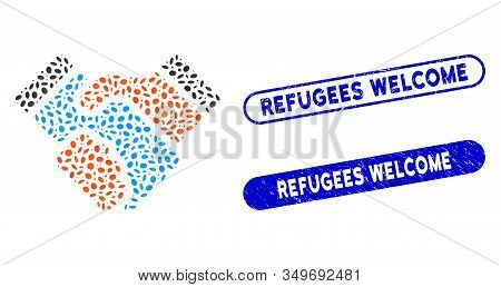 Mosaic Handshake And Corroded Stamp Watermarks With Refugees Welcome Text. Mosaic Vector Handshake I