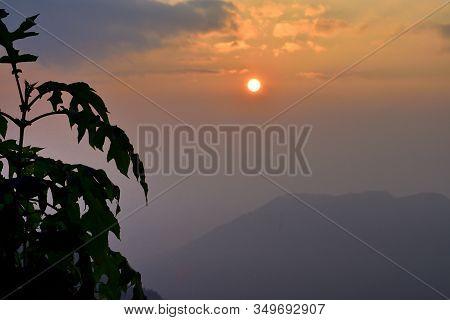 Golden Sunrise In The Panoramic Mountain Landscapes Of Himalayan Range From Takdah, Darjeeling, Indi