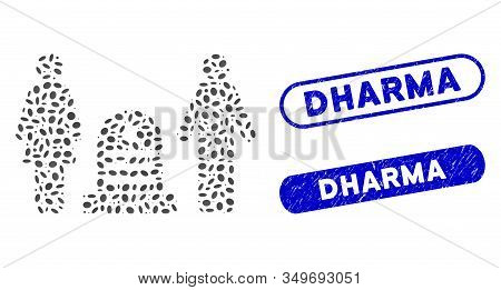 Mosaic Family Cemetery And Corroded Stamp Seals With Dharma Caption. Mosaic Vector Family Cemetery I