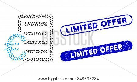 Mosaic Euro Pricelist And Distressed Stamp Seals With Limited Offer Caption. Mosaic Vector Euro Pric
