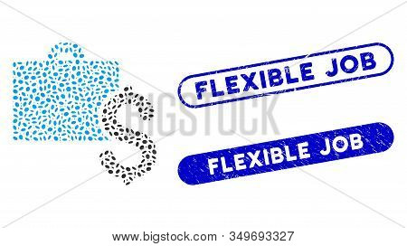 Mosaic Accounting And Rubber Stamp Seals With Flexible Job Text. Mosaic Vector Accounting Is Formed