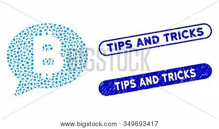 Mosaic Bitcoin Message And Corroded Stamp Seals With Tips And Tricks Text. Mosaic Vector Bitcoin Mes