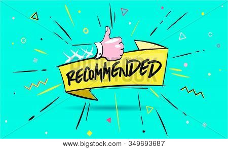 Recommended Icon. Red Label Recommended With Thumb Up.sign Brand With Recommended.best Tag For Great